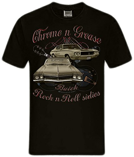shirtmatic-motor-und-rock-guitars-hot-rod-rock-n-roll-rockabilly-t-shirt-l-chrome-grease-60s-buick