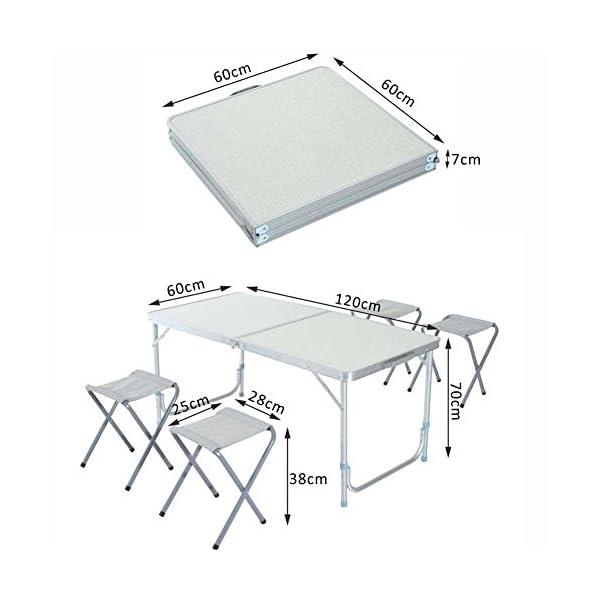 Tavolo In Alluminio Da Campeggio.Bakaji Tavolo Tavolino Da Campeggio 120 X 60 Cm Regolabile In