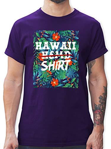 Karneval & Fasching - Hawaii Hemd Shirt - S - Lila - L190 - Herren T-Shirt und Männer Tshirt