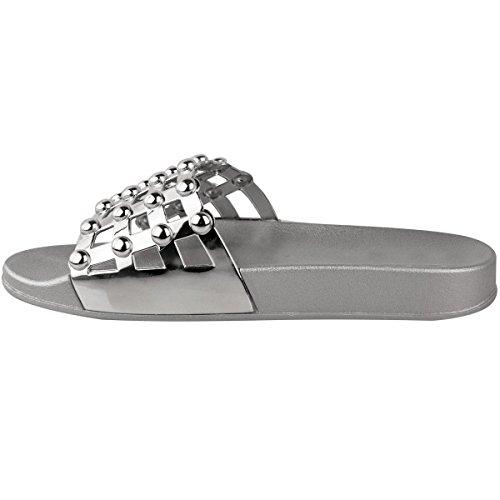 Sandales Plates à Clous/Strass - à Enfiler/Bout Ouvert - Confortable - Femme Argenté métallisé/rétro/confortable