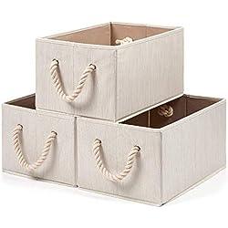 EZOWare Panier de Rangement Pliable en Tissu avec Poignée en Corde de Coton, Boîte de Rangement pour Étagères, Placard etc - Beige au Grain de Bois - Pack de 3