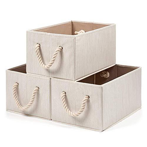 set de 6 cajas decorativas de almacenamiento con 2 mangos de cuerda hogar oficina Umi juguetes dormitorio Essentials Cubos de almacenaje de tela beige para ropa