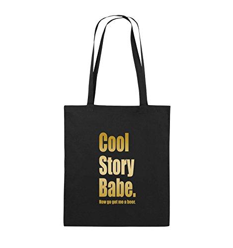 Comedy Bags - Cool Story Babe now get me a beer - Jutebeutel - lange Henkel - 38x42cm - Farbe: Schwarz / Silber Schwarz / Gold