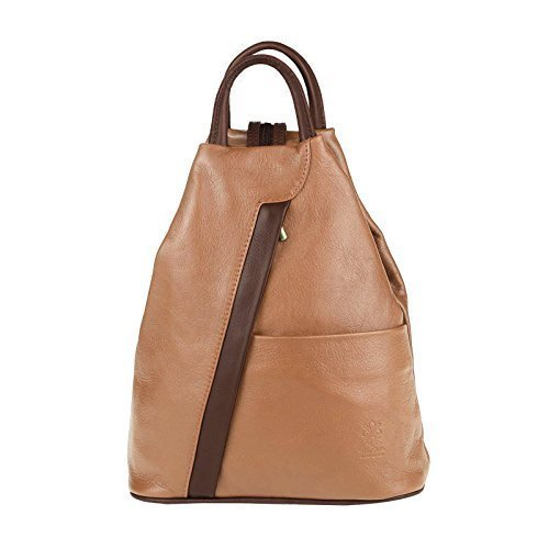 OBC Made in Italy Damen echt Leder Rucksack Lederrucksack Tasche Schultertasche Ledertasche Rucksack Handtasche Nappaleder (Cognac-Braun) (Zwei Mittel-gepäck-tags)
