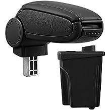 [pro.tec] Reposabrazos central – Apoyabrazos con compartimento – acolchado – polipiel – negro