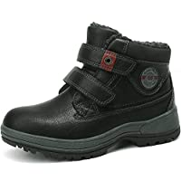 ABTOP Snow Boots Kids Boy Girl Winter Warm Ankle Boots Fully Fur Lined Leather Shoes School Walking Hiking Outdoor Urban (3 UK, C9247-Black)...