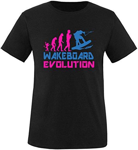 EZYshirt® Wakeboard Evolution Herren Rundhals T-Shirt Schwarz/Pink/Blau