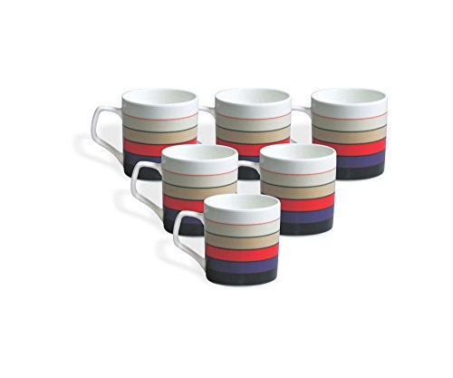 Clay Craft Director Hilton 389 Bone China Coffee Mug Set, 220ml/6.6cm, Set of 6, Multicolour