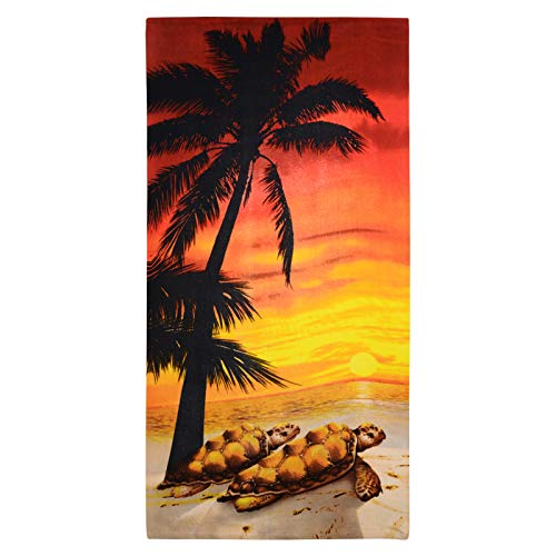GEEZY Großes Mikrofaser-Strand-Badetuch, leicht, Sport, Reisen, Fitnessstudio, Sommer-Handtücher Sunset Tortoise