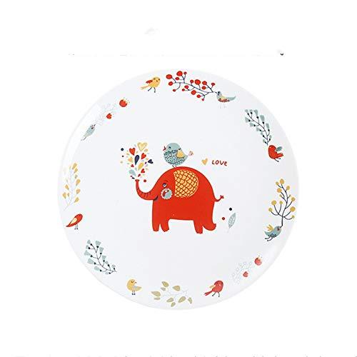 BOOMZZ Runde Westliche Platte Cartoon Keramik Teller Geschirr Restaurant Gericht 8 Zoll Vogel Elefant Fisch Muster 8 Zoll Elefanten