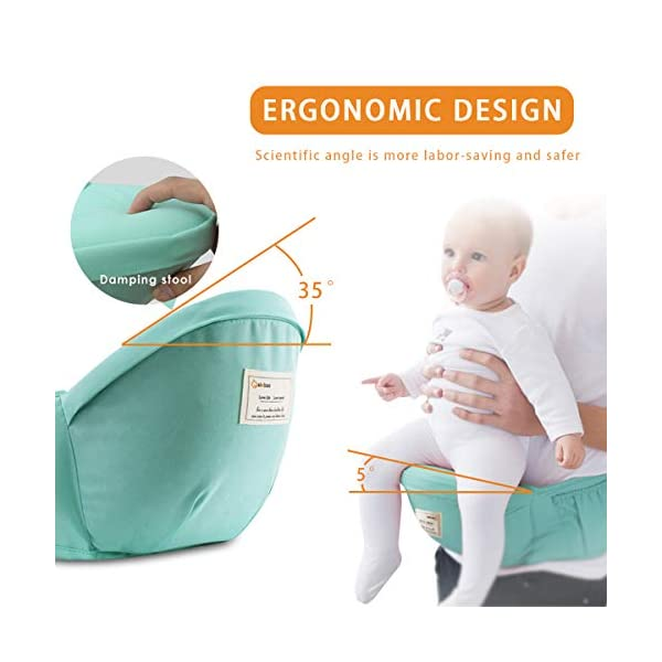 SONARIN 3 in 1 Multifunction Hipseat Baby Carrier,Front and Back,100% Cotton,Ergonomic,Easy Mom,Adapted to Your Child's Growing, 100% Guarantee and Free DELIVERY,Ideal Gift(Green) SONARIN Applicable age and Weight:0-36 months of baby, the maximum load:36KG, and adjustable the waist size can be up to 47.2 inches (about 120 cm). Material:designers carefully selected soft and delicate Cotton fabric. Resistant to wash, do not fade, ensure the comfort and breathability, Inner pad: EPP Foam,high strength,safe and no deformation,to the baby comfortable and safe experience. Description:Scientific 35°, the baby naturally fits the mother's body, safe and comfortable.Patented design of the auxiliary spine micro-C structure and leg opening design, natural M-type sitting.H-type bridge belt, effectively fixed shoulder strap position, to prevent shoulder straps fall, large buckle, intimate design, make your baby more secure. 4