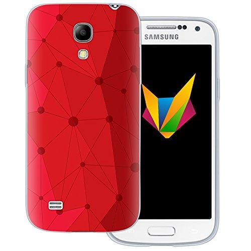 Mobilefox Grafik transparente Silikon TPU Schutzhülle 0,7mm dünne Handy Soft Case für Samsung Galaxy S4 mini Grafik Atomium Rot - Cover Gel Hülle