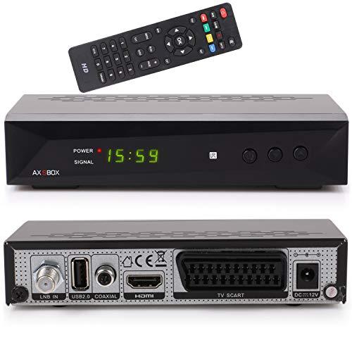 Opticum AX SBOX HD HDTV günstiger digitaler Satelliten-Receiver (DVB-S/S2, SAT, HDMI, SCART, USB 2.0, Full HD 1080p, 12V, Mediaplayer) [vorprogrammiert für Astra Hotbird] - schwarz