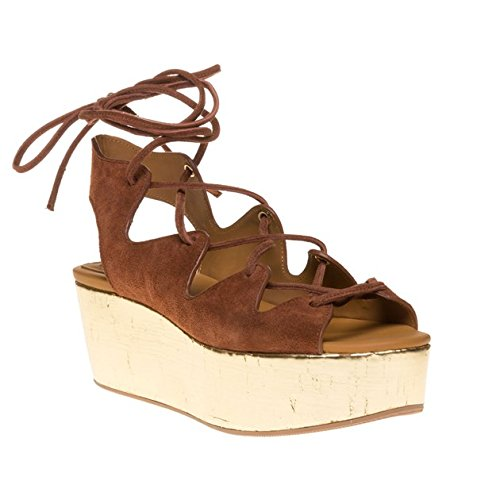 See By Chloe Metallic Wedge Flatform Donna Sandalo Marrone Chiaro