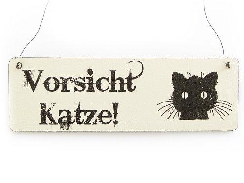 Vintage Deko Schild Türschild VORSICHT KATZE Shabby Nostalgie Landhaus Holz weiß (Vorsicht Schild Katze)