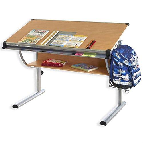 *IDIMEX Bureau enfant écolier junior CHRISTINA table à dessin réglable en hauteur et plateau inclinable avec tablette en MDF décor hêtre, structure en métal Offre de prix