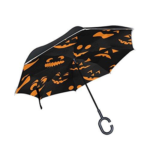 en-Kürbisse geschnitzt Faces seitenverkehrt Regenschirm Double Layer Winddichte Rückseite Faltbarer Regenschirm für Auto mit C-förmigem Henkel ()