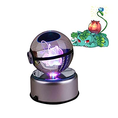 Gladle La base de luz LED 3D Crystal Ball Night cambia el color del juguete de Gladle