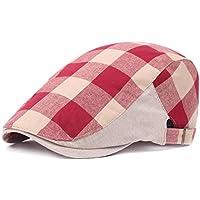 Dosige Boina de algodón y lino,Gorras para hombres y mujeres,Sombrero al aire libre,Boina a cuadros,Sombrero de turista size 55-60cm (rojo)