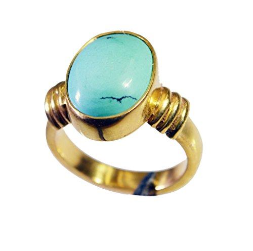 bello turchese di rame anello di pietra preziosa del turchese l-1in (Rame Pietra Preziosa Del Turchese)