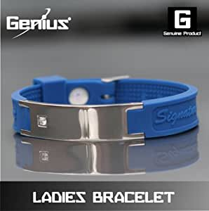 Genius Ladies Signature Ionic Bracelet Blue With Diamonte Stone .