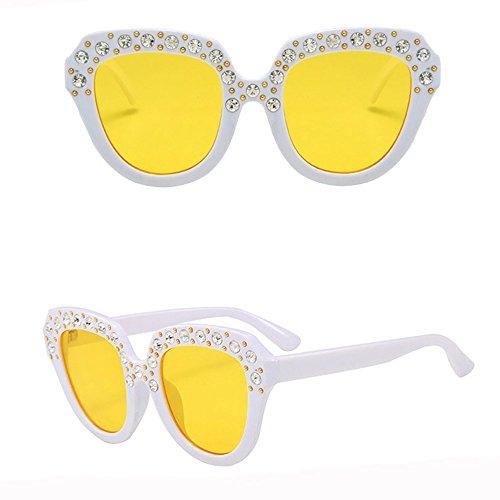 Whycat Party Frauen Sonnenbrille vintage Markendesigner Weibliche Farbverlauf Hohe qualität Barock Retro Sonnenbrille Damen(Gelb)