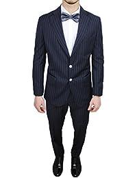 Abito uomo sartoriale italiano Vincent Trade blu gessato vestito completo elegante  cerimonia da8d8c77989