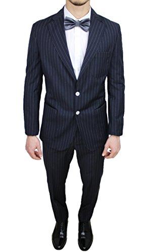 Abito uomo sartoriale italiano Vincent Trade blu gessato vestito completo elegante cerimonia (48)