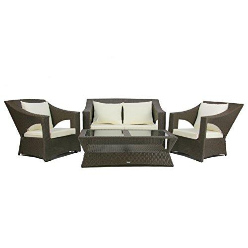 Rattan4Life Paris Grau Tisch Polyrattan Gartenmoebel Sitzgruppe Lounge Moebel Set Gartentisch Sessel...