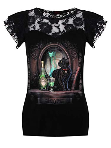 Spiral Direct Damen Absinthe - Lace Layered Cap Sleeve Top Black T-Shirt, Schwarz 001, 34 (Herstellergröße: Small) (Cap-sleeve Top U-ausschnitt)