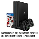 Tobo Vertical Stand for PS4/PS4 Slim/PS4 Pro - Cooling Fan with PS4 Charger Controller Charging Station with Game Storage (Black)