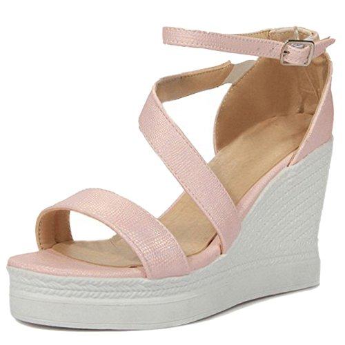 COOLCEPT Femmes Confortable Compenses Talon hauts Sandales Cheville Boucle Chaussures Rose