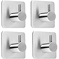 4 Pack Rustproof Stainless Steel Stick on Hooks Self Adhesive from LYSLEDa, Strong Bonding Power Sticky Hooks for Kitchens, Bathrooms, Lavatories, Closets, Office and so on. Waterproof and No Need Screws(Square).