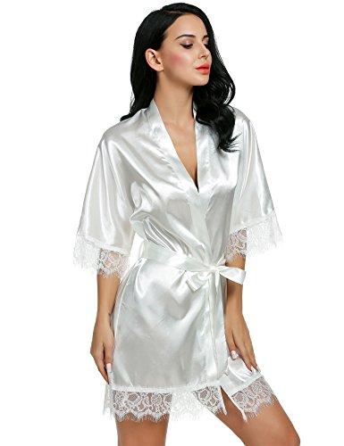 Avidlove Kimono de Femme Robe de Chambre Femme Satin Soyeux Peignoir Robes de Mariée Taille 36-50 Blanc