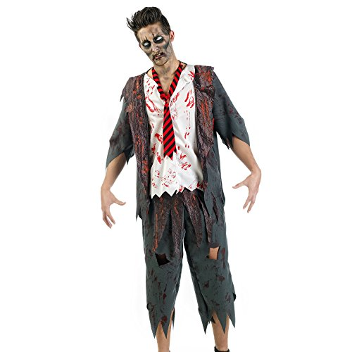 Kostüm Zombie Kid - Elbenwald Zombie Kostüm Herren Horror School Boy 3-teilig für Karneval Halloween - L