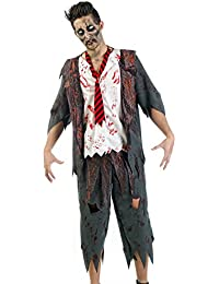 Zombie Costume High School Boy 3 Piece Horror Costume Men Jacket With Shirt and Necktie For Carnival Halloween Theme Party