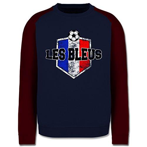 EM 2016 - Frankreich - Frankreich- Les Bleus Vintage - Herren Baseball Pullover Navy Blau/Burgundrot