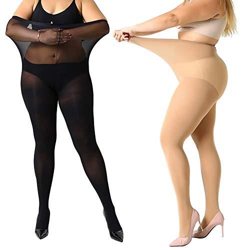 Plus Größe 70 Kostüm - MANZI Damen Strumpfhose 2 or 4 Paar Plus Größen XL-4XL(44-62), 1 Paar Beige,1 Paar Schwarz(70 Den), 70 Denier XXXL
