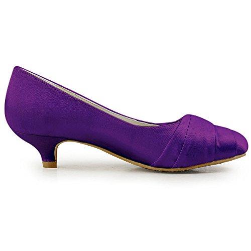 ElegantPark EP2006L Scarpe da sposa tacco basse scarpe chiuse donna Viola