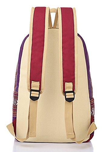 Keshi Leinwand Cool Schulrucksäcke/Rucksack Damen/Mädchen Vintage Schule Rucksäcke mit Moderner Streifen für Teens Jungen Studenten Licht Lila