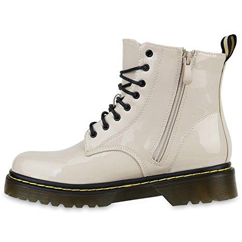 Damen Stiefeletten Worker Boots Lack Profilsohle 90s Look Creme