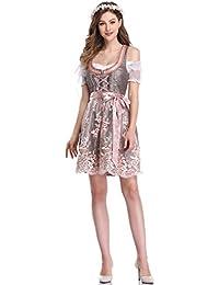 KOJOOIN Trachten Damen Dirndl Kurz - Midi Trachtenkleid für Oktoberfest - DREI Teilig: Kleid, Bluse, Schürze(Verpackung MEHRWEG)