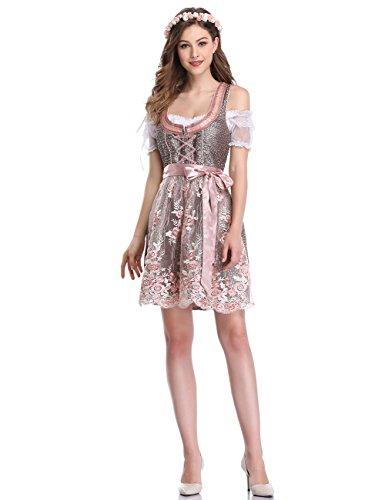 LanLan Trachten Damen Dirndl Set Oktoberfest, Karneval Party Dirndl Kleid Drei Stücke Anzug Farbe: Lila Größe: 38