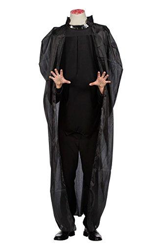 Mann ohne Kopf Kostüm Kopflos Hals Halloween Schwarz Umhang Karneval Fasching (Kopfloser Mann Halloween-kostüme)