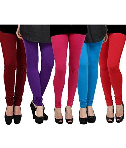 K\'s Creations Women\'s Cotton Lycra Churidar Leggings (Pack of 5) - Free Size