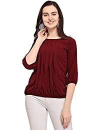 20744edef6c Girls Regular Fit Crepe Top, Designe Stylish & Fashionable Full Sleeves  Casual top for Girls