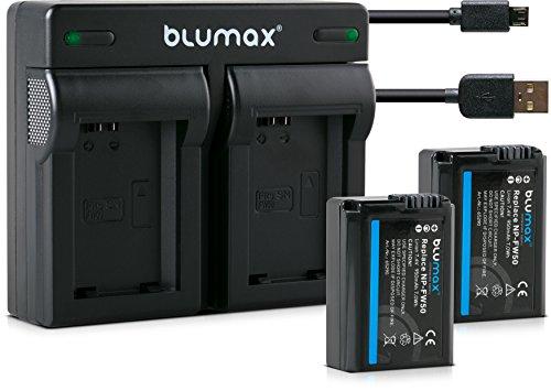 Blumax 2X Akku + Dual Ladegerät USB für Sony NP-FW50 1030mAh kompatibel mit Sony Alpha7 / 7ii / 6500/6300 / 6000/5100 NEX-7 NEX-6 NEX-F3 NEX-3 Nex-5 NEX-5N NEX-5T SLT A55V A33 A35 A37 1030mah-batterie