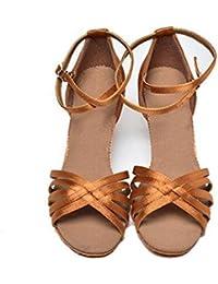 KUKI Zapatillas de baile latinas zapatos de baile de práctica de satén suave adulto , 2 , US5.5 / EU35 / UK3.5...