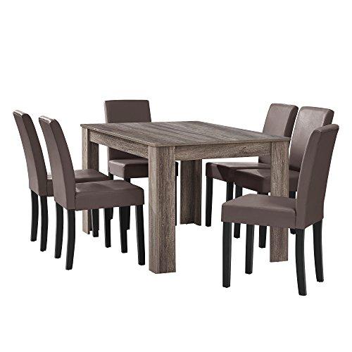[en.casa] Esstisch Eiche antik mit 6 Stühlen braun Kunstleder Gepolstert 140x90 Essgruppe Esszimmer - Holz Ess-set