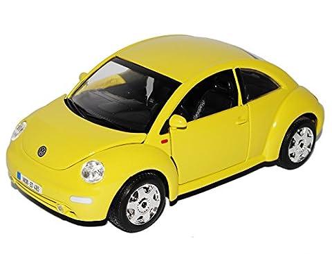 VW Volkswagen New Beetle Coupe Gelb 1997-2010 18-22029 1/24 Bburago Modell Auto mit individiuellem Wunschkennzeichen